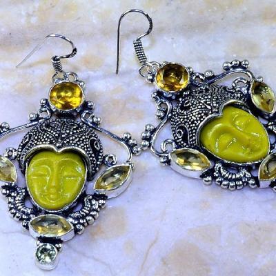 Ct 0441c boucles oreilles bouddha citrine lemon steampunk gothique argent 925 bijoux achat vente