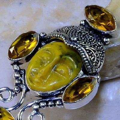 Ct 0443d bague t52 bouddha citrine gothique steampunk elfique argent 925 bijoux achat vente
