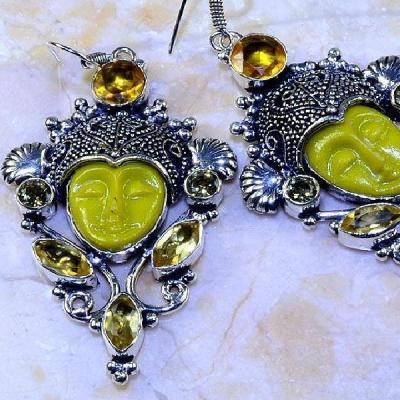 Ct 0446c boucles oreilles bouddha citrine lemon steampunk gothique argent 925 bijoux achat vente