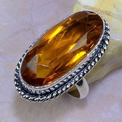 Ct 0453a bague t61 chavaliere citrine orange ambre argent 925 bijoux achat vente