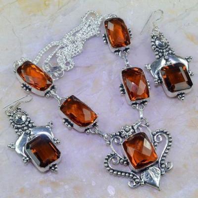 Ct 0456a parure collier boucles sautoir citrine orange ambre argent 925 bijoux achat vente 1