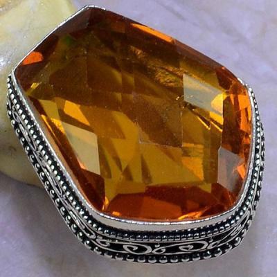 Ct 0457b bague t57 chavaliere citrine orange ambre argent 925 bijoux achat vente