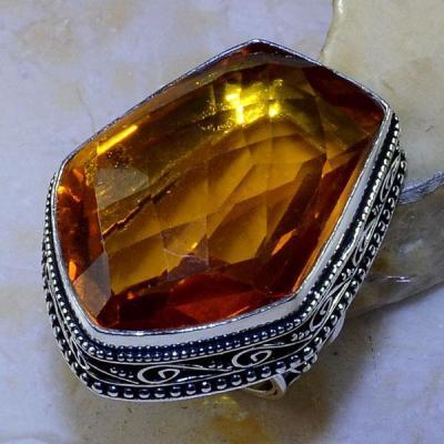 Ct 0459a bague t60 chavaliere citrine orange ambre argent 925 bijoux achat vente 1