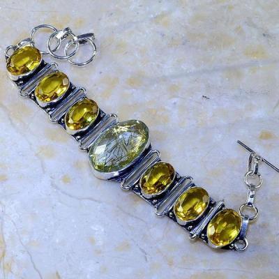 Ct 0460a bracelet citrine lemon quartz rutile argent 925 bijoux achat vente