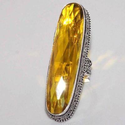 Ct 0461b bague chevaliere t53 citrine lemon doree medievale argent 925 bijoux achat vente