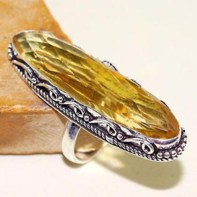 Ct 0467b bague chevaliere t60 citrine lemon doree medievale argent 925 bijoux achat vente