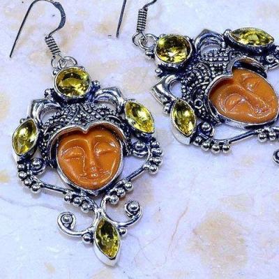 Ct 0471c boucles pendant oreilles bouddha citrine lemon gothique argent 925 bijoux achat vente