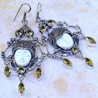 Ct 0475a boucles pendant oreilles bouddha citrine lemon gothique argent 925 bijoux achat vente