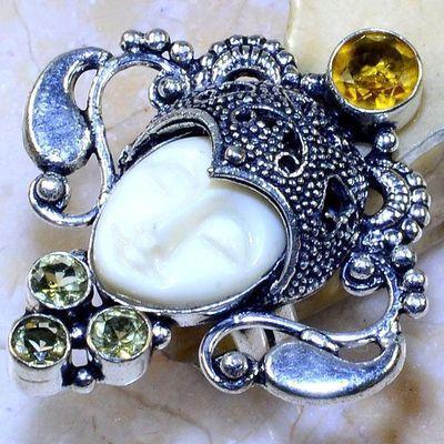 Ct 0476a boucles pendant oreilles bouddha citrine lemon gothique argent 925 bijoux achat vente