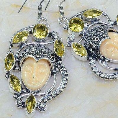 Ct 0480c boucles pendant oreilles bouddha citrine lemon gothique argent 925 bijoux achat vente