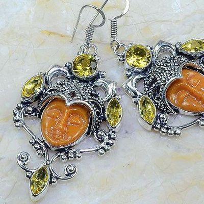 Ct 0481c boucles pendant oreilles bouddha citrine lemon gothique argent 925 bijoux achat vente