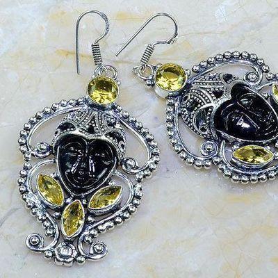Ct 0482c boucles pendant oreilles bouddha citrine lemon gothique argent 925 bijoux achat vente