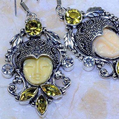 Ct 0483c boucles pendant oreilles bouddha citrine lemon gothique argent 925 bijoux achat vente