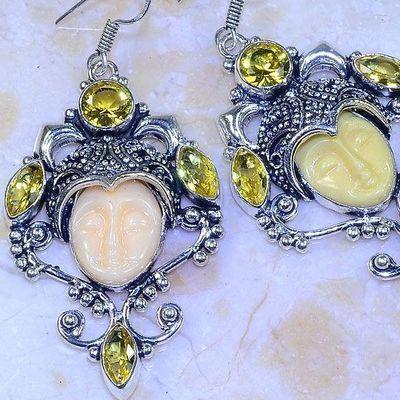 Ct 0486c boucles pendant oreilles bouddha citrine lemon gothique argent 925 bijoux achat vente