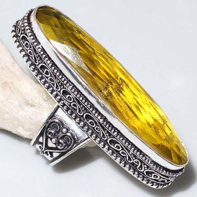 Ct 0488a bague chevaliere t58 12x48mm citrine lemon medievale argent 925 bijoux achat vente