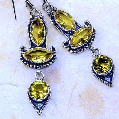 Ct 0493c boucles pendant oreilles citrine lemon gothique argent 925 bijoux achat vente