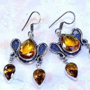 Ct 0507a boucles pendant oreilles citrine lemon gothique argent 925 bijoux achat vente