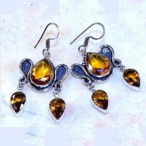 Ct 0507b boucles pendant oreilles citrine lemon gothique argent 925 bijoux achat vente