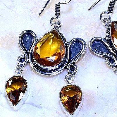 Ct 0507c boucles pendant oreilles citrine lemon gothique argent 925 bijoux achat vente