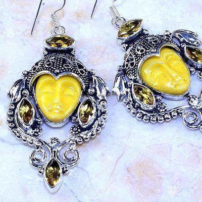 Ct 0508c boucles pendant oreilles bouddha citrine lemon gothique argent 925 bijoux achat vente