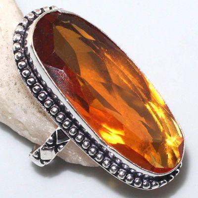 Ct 0510a bague chevaliere t66 15x35mm citrine orange medievale argent 925 bijoux achat vente