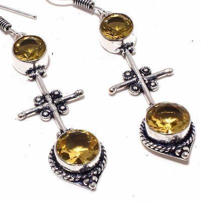 Ct 0521c boucles oreilles pendant croix citrine lemon gothique argent 925 bijoux achat vente