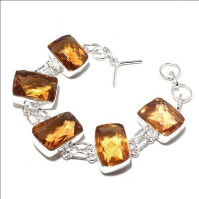 Ct 0524a bracelet 36gr 20x15mm citrine lemon agate solar argent 925 bijoux achat vente