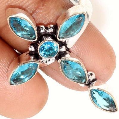 Cx 3112c croix bague crucufix topaze bleue gr 8x4mm gothique bijoux achat vente