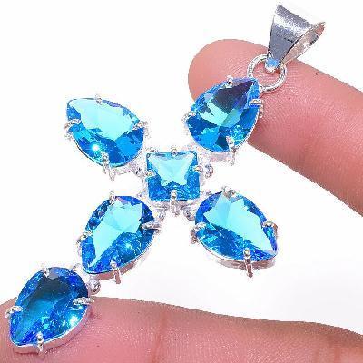 Cx 3132b croix pendentif 60x10mm 12gr topaze bleue suisse gothique achat vente bijou argent 925