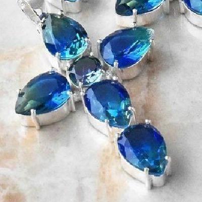 Cx 3143d croix pendentif 60x40mm 12gr tourmaline bleue vert gothique achat vente bijou argent 925