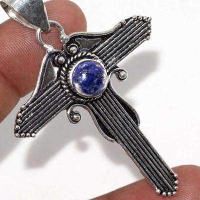 Cx 3145c croix pendentif 50x40mm 8gr lapis lazuli gothique achat vente bijou argent 925