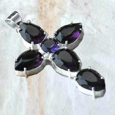 Cx 3146a croix pendentif 32x45mm 11gr amethyste pourpre violette gothique achat vente bijou argent 925
