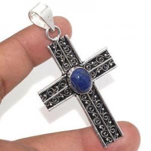 Cx 3148a croix pendentif medievale 50x35mm 9gr lapis lazuli gothique achat vente bijou argent 925