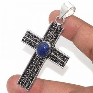Cx 3148b croix pendentif medievale 50x35mm 9gr lapis lazuli gothique achat vente bijou argent 925