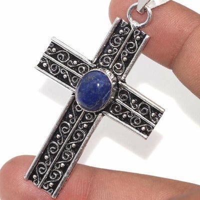 Cx 3148c croix pendentif medievale 50x35mm 9gr lapis lazuli gothique achat vente bijou argent 925