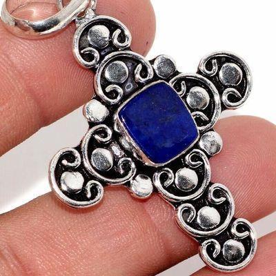 Cx 3152c croix pendentif medievale 50x40mm 7gr lapis lazuli gothique achat vente bijou argent 925
