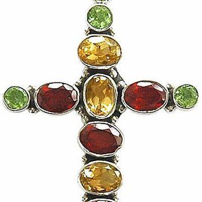 Cx 3159a croix 60mm chretienne crucifix 35x45mm citrine grenat peridot pendant pendentif argent925