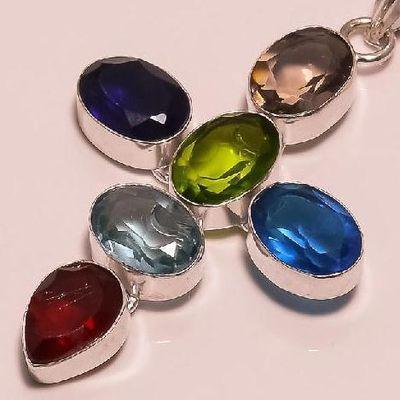 Cx 3162c pendentif argent 925 topaze quartz apatite amethyste peridot grenat