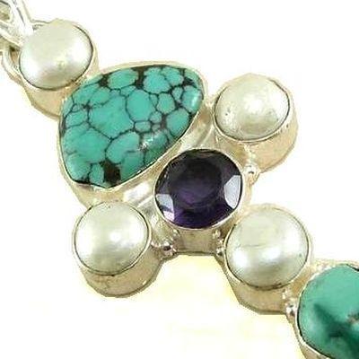 Cx 3174c croix chretienne crucifix 60x78mm blue turquoise perles pendant achat vente