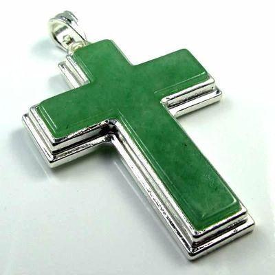 Cx 3190a croix chretienne 70mm crucifix 35x50mm turquoise verte pendant achat vente