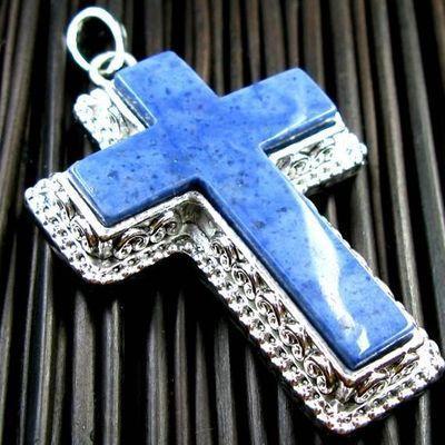 Cx 3191a croix chretienne 70mm crucifix 35x50mm lapis lazuli pendant achat vente