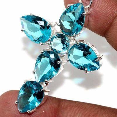 Cx 3193c croix pendentif 60x40mm 12gr aigue marine bleue gothique achat vente bijou argent 925