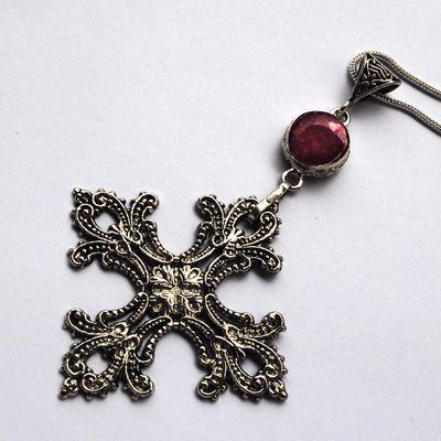 Cx 3208d pendentif croix toulouse xviieme rubis crucifix chaine achat vente bijou argent 925