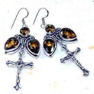 Cx 3214a boucles croix crucifix oreilles topaze blanche cristal argent 925 vente achat