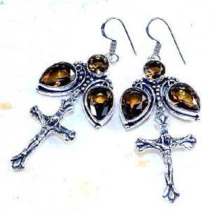 Cx 3214b boucles croix crucifix oreilles topaze blanche cristal argent 925 vente achat