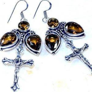 Cx 3214c boucles croix crucifix oreilles topaze blanche cristal argent 925 vente achat