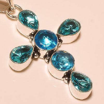 Cx 3222d croix crucifix pendentif pendant topaze bleue cristal argent 925 vente achat