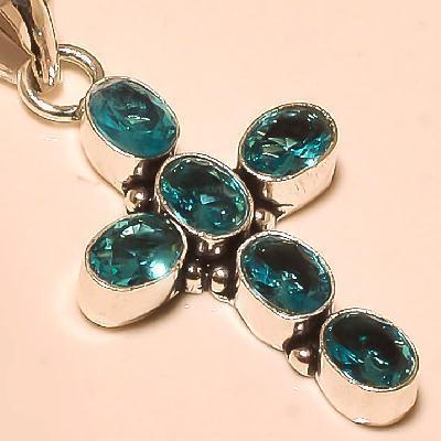 Cx 3223c croix crucifix pendentif pendant topaze bleue cristal argent 925 vente achat