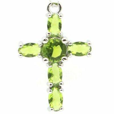 Cx 3229b croix crucifix pendentif pendant peridot vert argent 925 vente achat