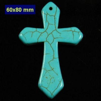 Cx 3232b croix chretienne crucifix 60x80mm blue turquoise pendant achat vente